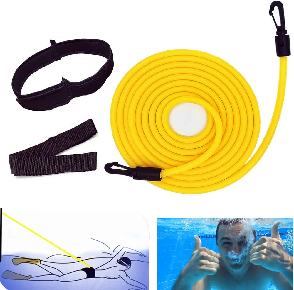 4m Swimming Belt for Adults Swimming Bands for Training Flexible Swimming Rope Belt for Pool, Adjustable Swimming Training Rope Bands Swimming Elastic Rope Swim Belt Swimming Resistance Belt : Sports & Outdoors