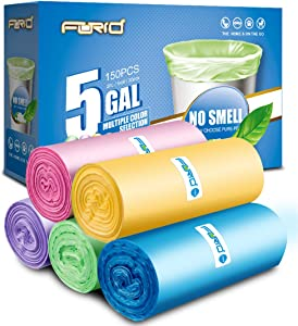 Small Garbage Bags - FORID 4 - 5 Gallon Trash Bags Durable Trash Can Liners for Home Office Bathroom Bedroom Waste Bin(5 Colors 150 Counts)