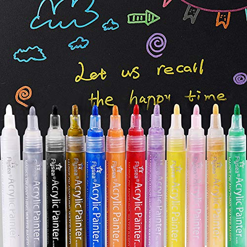 Acrylic Paint Pens Set of 12 Colors Marker Pens for Rock Painting, Ceramic, Porcelain, Glass, Stones, Pebbles, Fabric, Wood & DIY Craft Medium Tip Marker Pen (3mm)