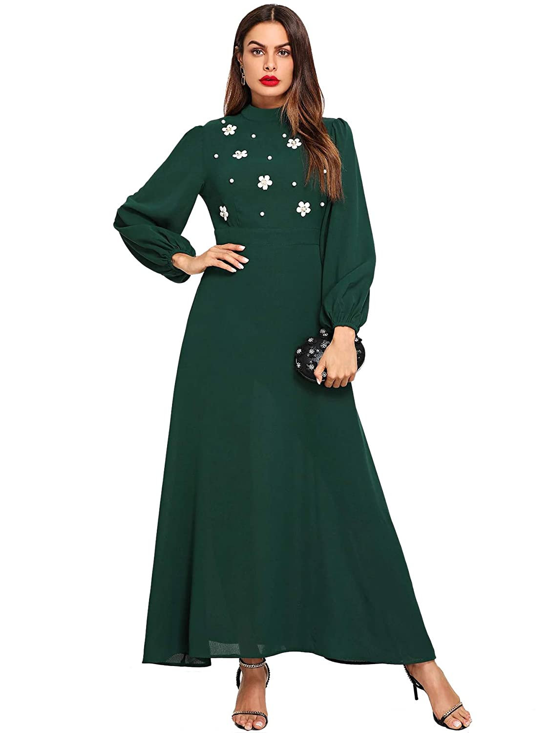 1930s Day Dresses, Afternoon Dresses History Verdusa Womens Mock Neck Long Sleeve Floral Embroidery Belted Maxi Dress $36.99 AT vintagedancer.com