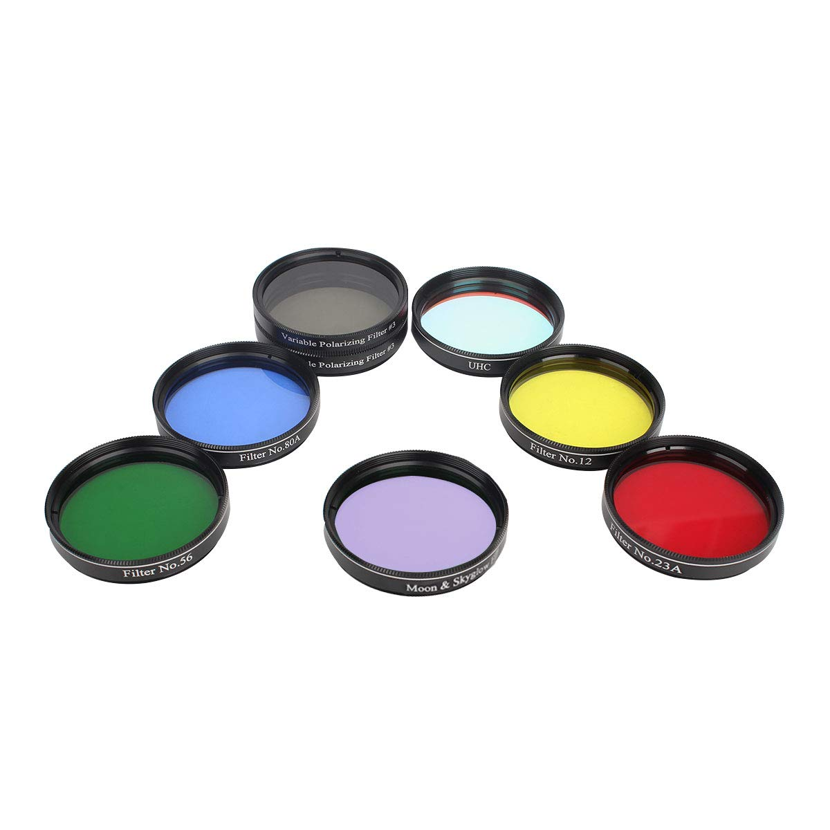 Gosky Telescope 2inch 7pcs Filters Set- 4 Plantary Color Filter, Moon Skyglow Filter, Variable Polarizing Filter, UHC Filter for 2inch Telescope Eyepieces by Gosky