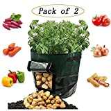 Potato Grow Bags,2 Pcs Garden Vegetables Planter Bags Cultivation with Flap and Handles,Potato Pots for Vegetables, Fruit, Carrot, Tomato, Onion,7 Gallon