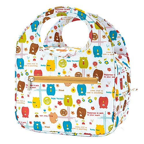 iSuperb Insulated Lunch Bag Box Tote Waterproof Cooler Bag Reusable with Adorable Animal Image Insulated Lunch Bags for Women Ladies Girls Children Kids Student Teenagers (Cute Bear White) by iSuperb