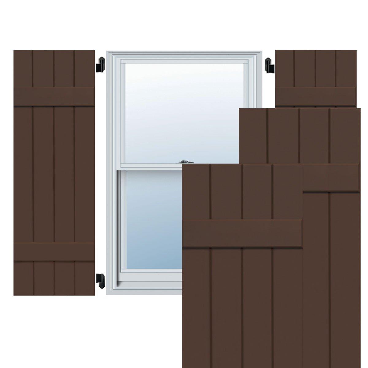 Ekena Millwork CWB15X035TBC Exterior Four Board Composite Wood Board-N-Batten Shutters with Installation Brackets 15W x 35H Per Pair Tudor Brown