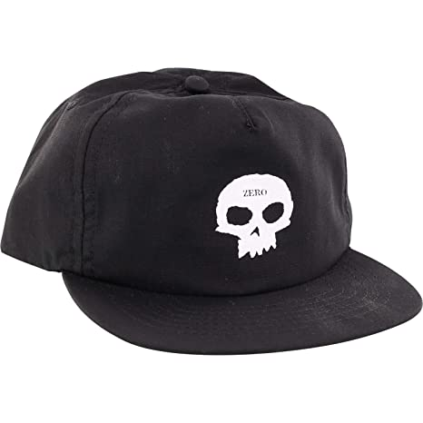 d745bf77defe64 Image Unavailable. Image not available for. Color: Zero Skateboards Skull  Black/White Snapback Hat ...