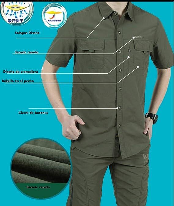 Camisas Hombre Manga Corta Secado r/ápido Verano Outdoor Trabajo Camisa Casual de Vestir