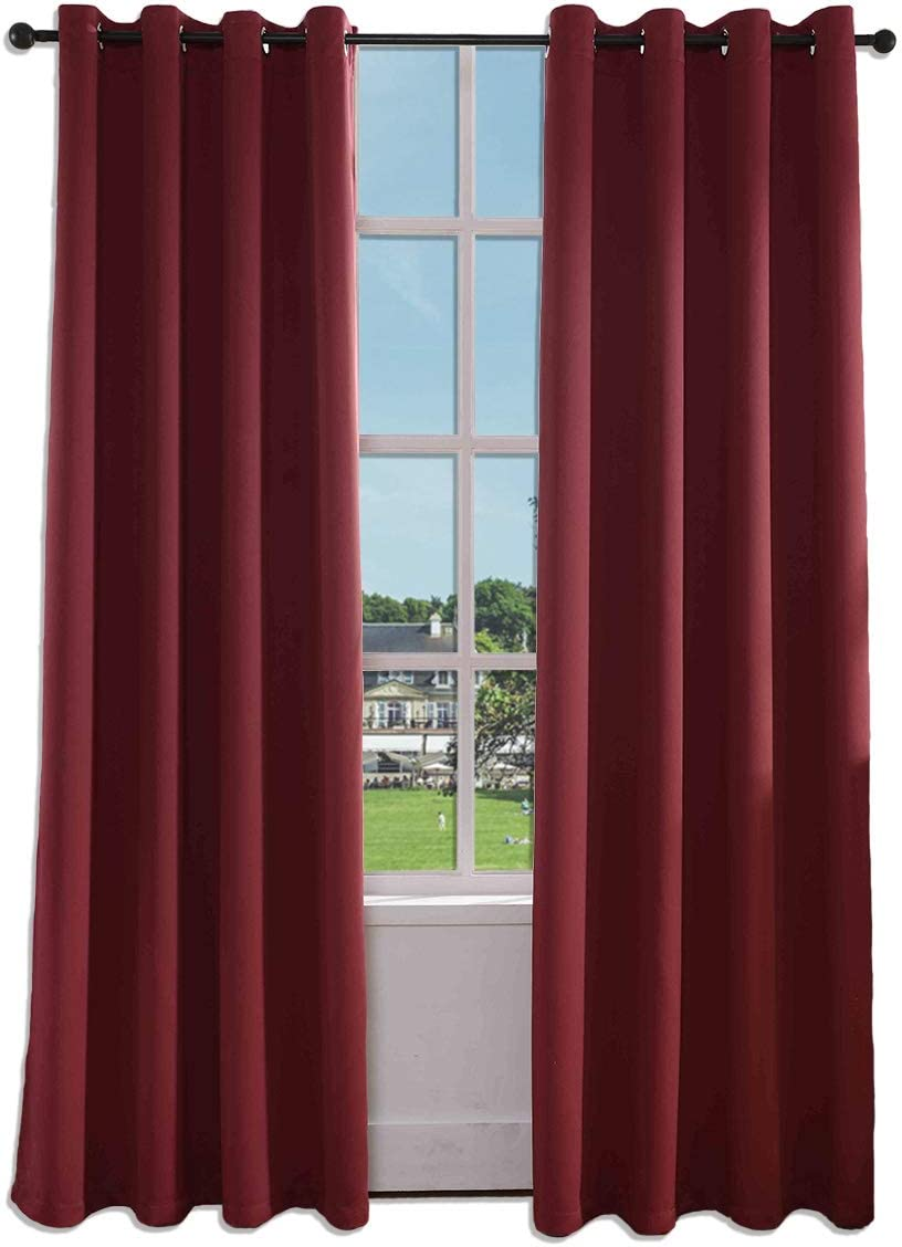 SINOGEM Burgundy Blackout Draperies Curtains Room Darkening Curtains Window Panel Drapes 2 Panels – 52 inch Wide by 95 inch Long Grommet Top Thermal Insulated Blackout Decorative Curtains