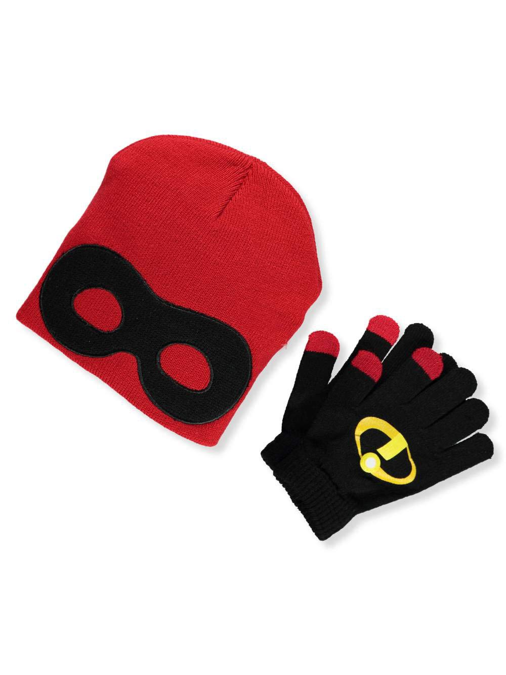 red Disney Girls Little Incredibles Mask Knit Peruvian Winter Beanie and Glove Set One Size