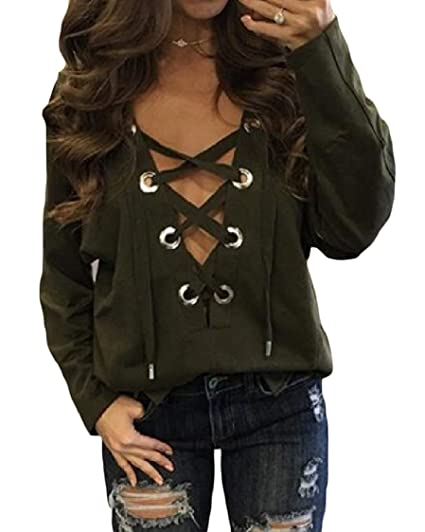 24b2155925 Lutratocro Womens Top Sexy Lace Up Tee Blouse Loose Long Sleeve T-Shirt Army  Green