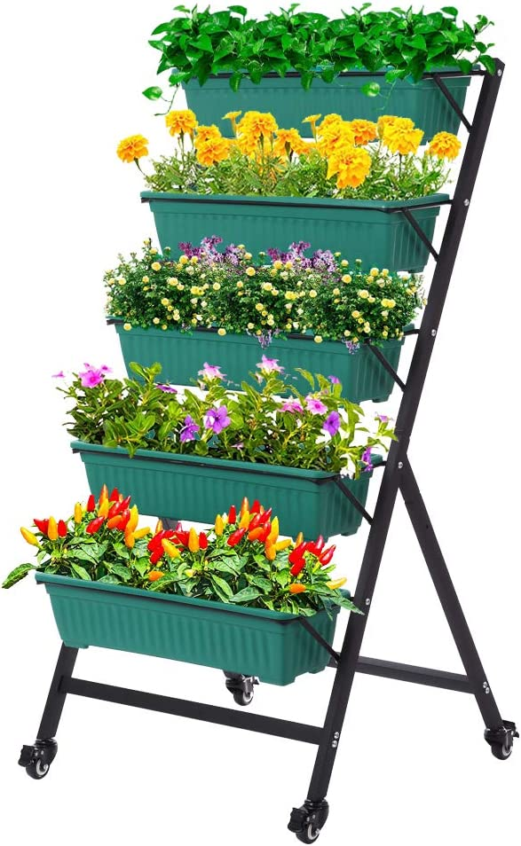 Taleco Gear Vertical Raised Garden Bed, Vertical Garden Planter, 5 Tier Planter Box for Flower Vegetables Outdoor Indoor