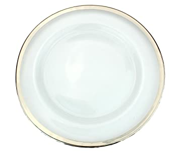 Rose Gold Set of 4 Clear Glass Charger 13 Inch Dinner Plate With Metallic Rim 0.5 CM