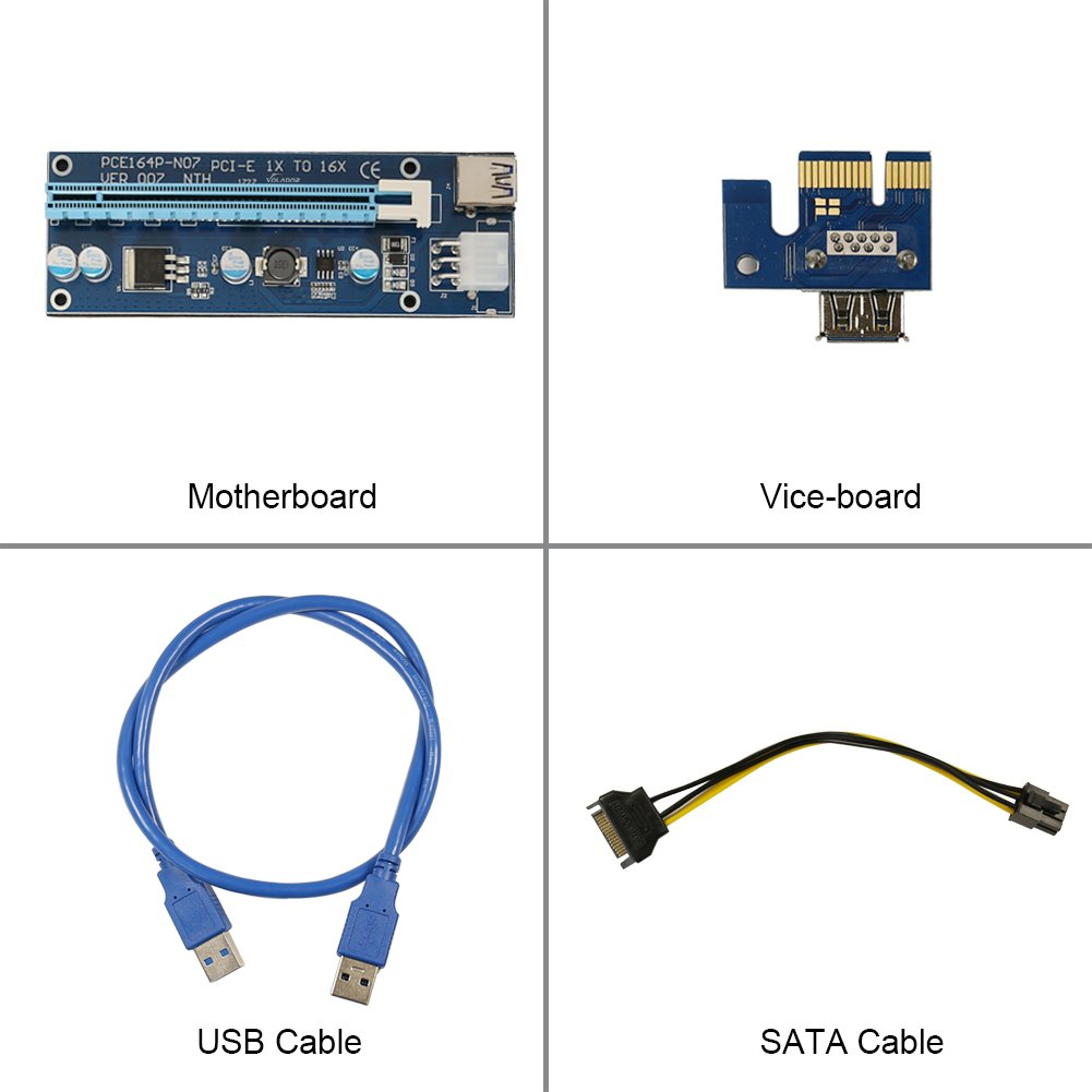 PCIe Riser, VOLADOR VER 007 PCI Express 1x to 16x Powered Riser Adapter Card - 0.6M USB 3.0 Extension Cable – 6 Pin PCI to SATA Power Cable - Ethereum Bitcoin Mining - 6 PCs by VOLADOR (Image #2)