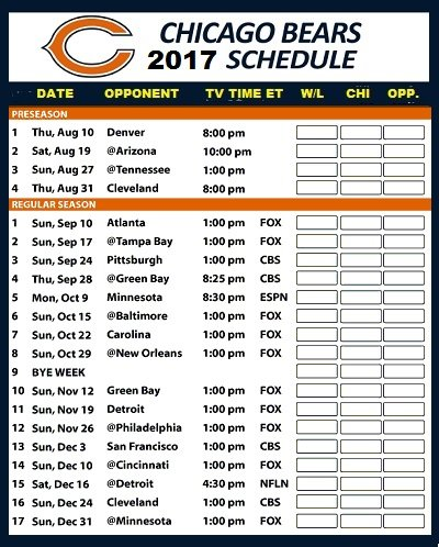 Chicago Bears NFL Football 2017 Schedule and Scores Refrigerator Magnet #505