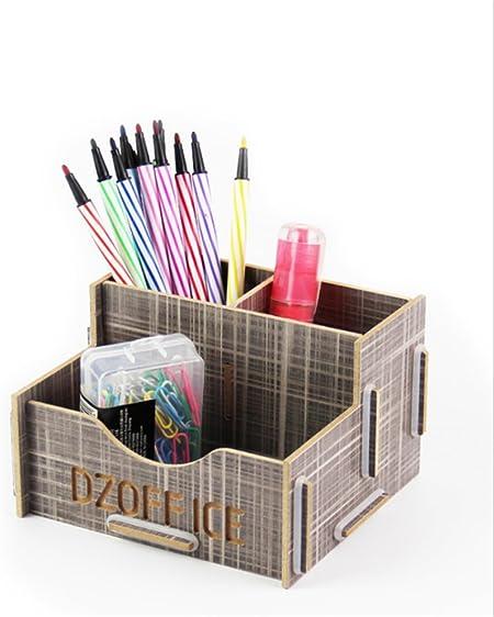 Oyfel Suministros de Oficina Organizador Madera bambú para Escritorio Papeleria Organizador de Mesa Soporte para el lápiz portalápices Práctico 3 Compartimentos Gris: Amazon.es: Hogar