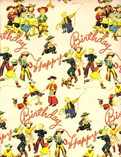 Acorn Spring Ranch Birthday Buckaroos Western Retro Heavy Gift Wrapping Paper -30 in x 25 ft Roll