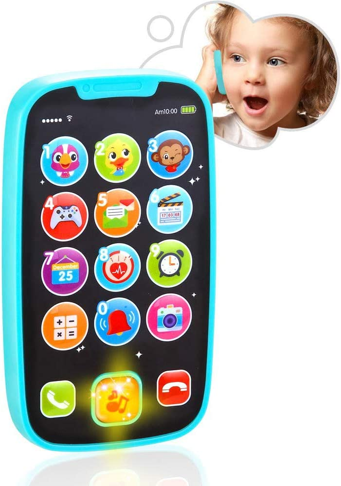 VATOS Baby Toys Baby Play Phone Toys with Lights Music| Early Educational Learning Toys for Baby 8M -12M -24M My First Smartphone| Click/& Count Call /& Chat for Role-Play Fun Toy for One Year Old