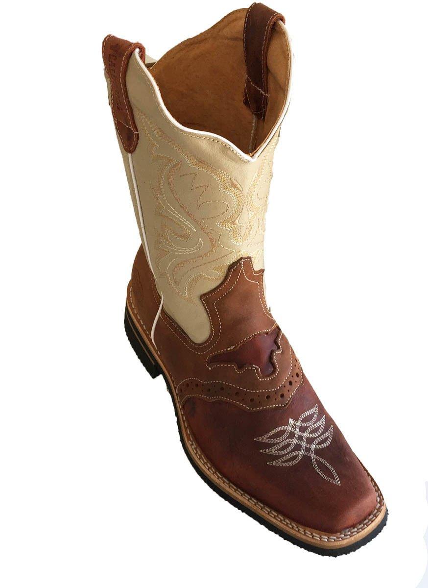 Men's Genuine Cow Hide Leather Cowboy Boots Square Toe Boots Cognac/Tan_9.5