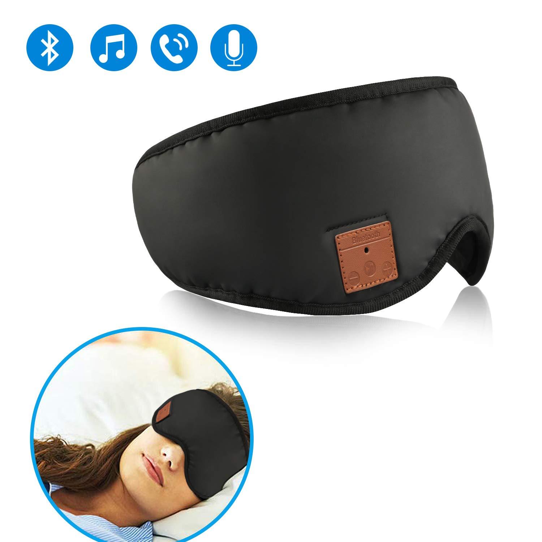 Bluetooth Sleeping Eye Mask Sleep Headphones,Wireless Bluetooth Headphones Music Travel Sleeping Headset 5.0 Bluetooth Handsfree Sleep Eye Shades Built-in Speakers Microphone Washable