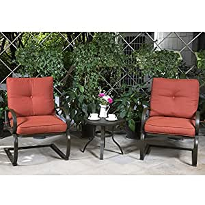 NEW 3 PC Patio Bistro Set Outdoor Cafe Furniture Seat Garden Set with Cushioned Seats, Brick Red