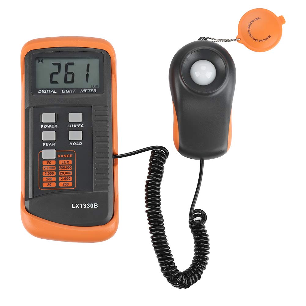 Light Meter, Illuminance/Light Meter LX1330B Digital Luxmeter LCD Display Digital Illuminance Meter 0-200,000 Lux Meter, Digital Illuminance Lux Meter Luminometer by Wal front