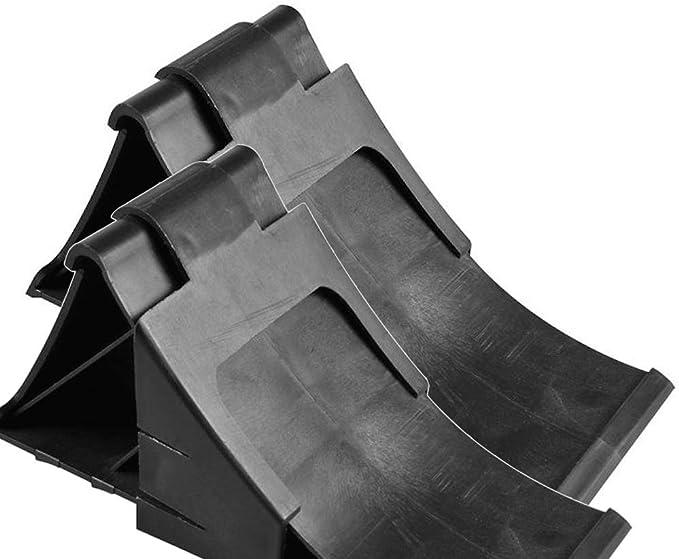 Komplett Set Unterlegkeile Incl Halter 2 Stück Schwarz 2000 Kg Bremskeil Anhänger Keile Bis 2t Auto