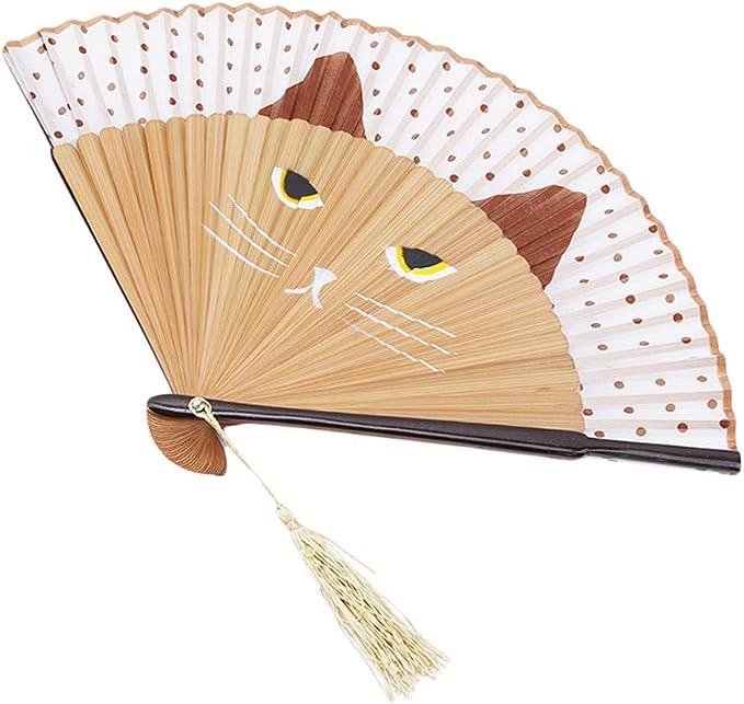L_shop Silk - Ventilador de Mano Plegable con diseño de Gatos y Dibujos de Animales, con decoración de Pared para Oficina: Amazon.es: Juguetes y juegos
