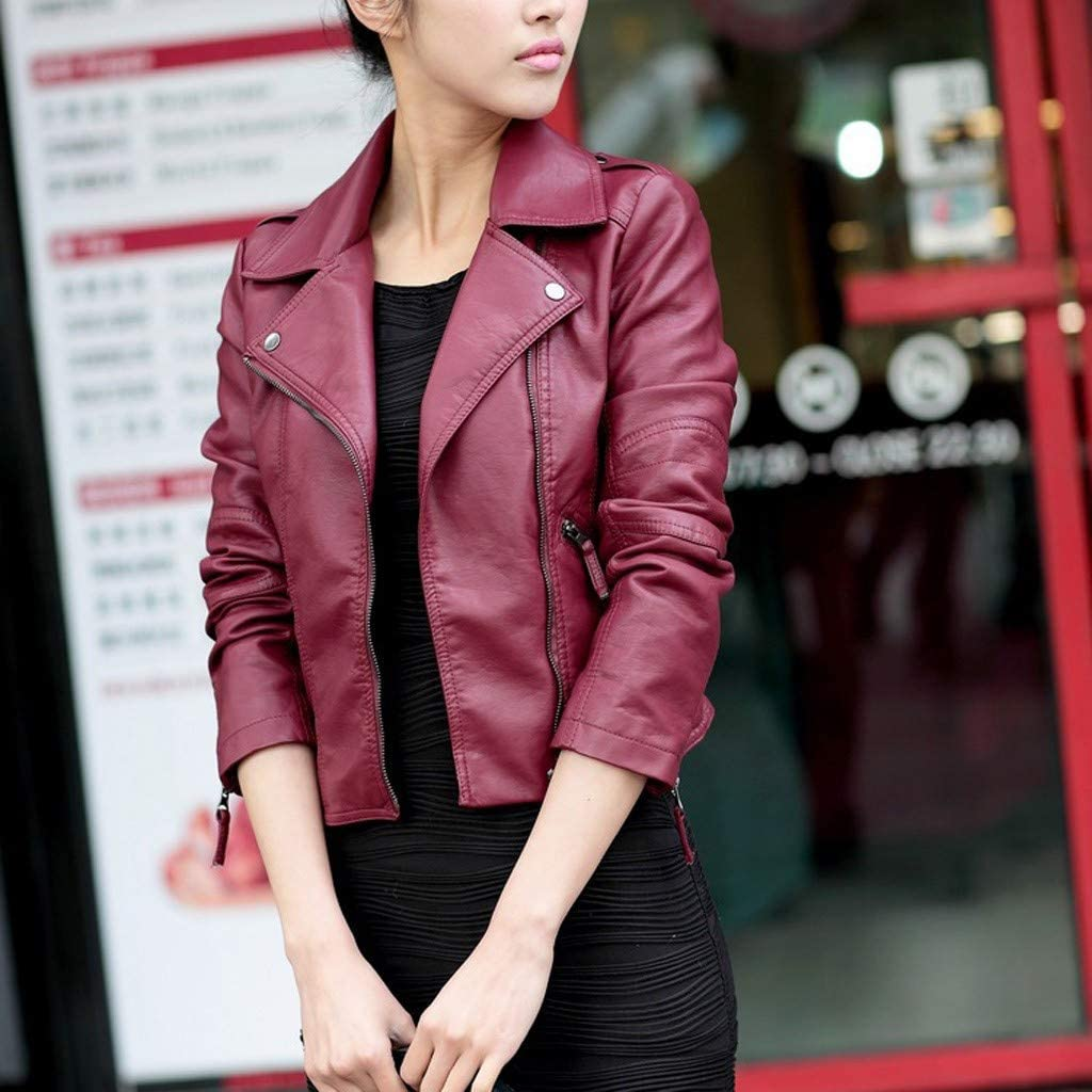WUAI-Women Oversized Faux Leather Moto Biker Jacket PU Leather Slim Fit Zipper Short Coat