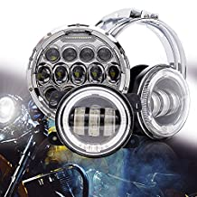 QUA 7 Inch 75W Harley Round Headlight Led Projector High/Low Beam + 4.5 Inch Led Fog Light For Harley-Davidson Motorcycle LED Passing Lights Front Lights Driving Lamp Projecotor With Bracket