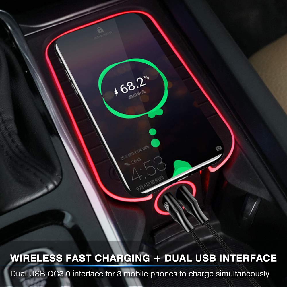 Premis Wireless Car Charger Fit for Volvo XC90 XC60 S90 V90 V60 S60 2019 2020 QC3.0 Fast Charging with USB Port 36W QI Wireless Smart Phone Charging