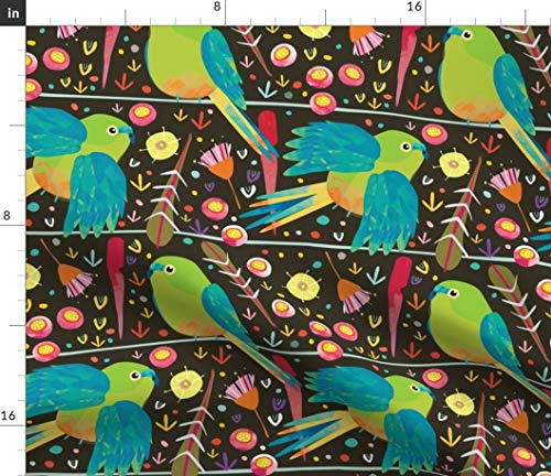 Orange Bellied Parrots Fabric - Orange-Bellied Parrot Australian Bird Endangered Species Animals Cockatoo Print on Fabric by the Yard - Basketweave Cotton Canvas for Upholstery Home Decor Bottomweight