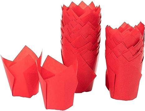 50Pcs 9 Colors Cupcake Wrapper Liners Muffin Tulip Baking AU Paper Cup Case V8X4