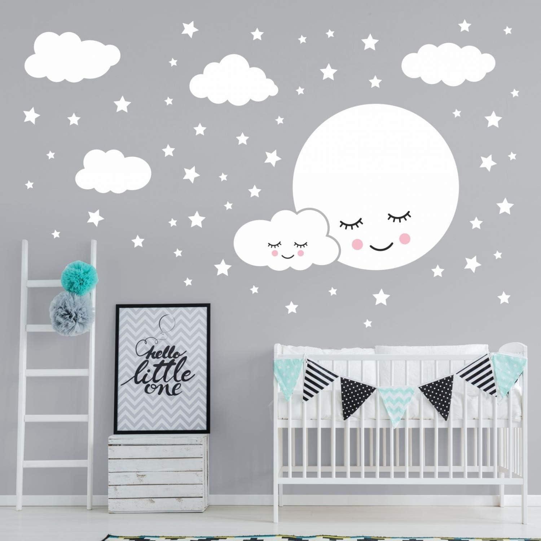 Babyzimmer Kinderzimmer Wanddeko Wandbild Junge M/ädchen Gr/ö/ße 750 x 420 mm in 6 Gr/ö/ßen nikima Sch/önes f/ür Kinder 162 Wandtattoo Vollmond mit Wolken und Sternen wei/ß