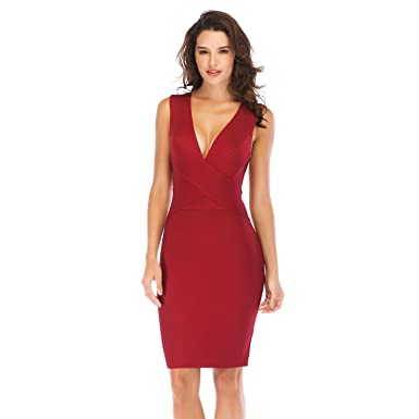 37e4bc40803f ADYABY Women s Deep V-Neck Sexy Bodycon Dress Wine Red Sleeveless Pencil  Midi Dresses Bandage Celebrity Party Dresses at Amazon Women s Clothing  store