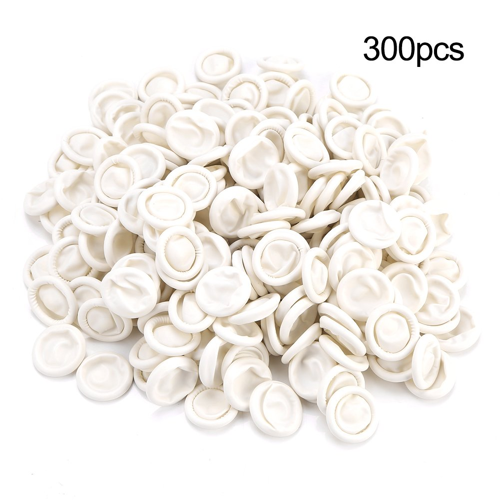 300pcs Natural Latex Finger Cots Ultra-thin Safety Durable Elastic Tattoo Manicure Tool