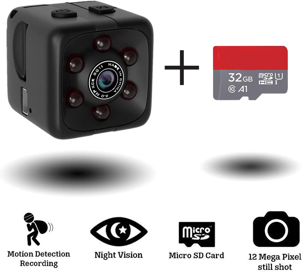 Mini Hidden Spy Camera Portable Small 1080P Wireless Cam with Night Vision and Motion Detection for Nanny/Housekeeper, Security Sports Camera . (Black(with 32GB Card))
