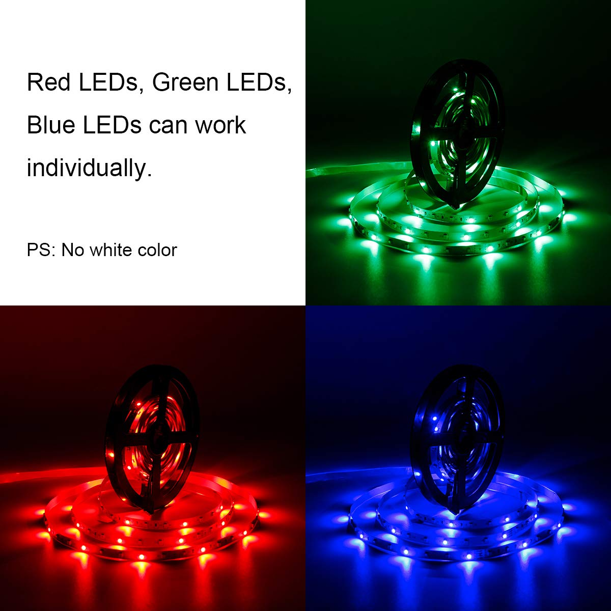 SUPERNIGHT 5M/16.4 Ft SMD 3528 RGB 300 LED Color Changing Kit with Flexible Strip Light+24 Key IR Remote Control+ Power Supply by SUPERNIGHT (Image #6)