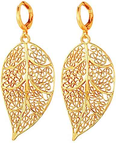 93e19cf28dc U7 Jewelry Women s 18K Gold Plated Filigree Leaf Earrings -Lightweight Drop  Earring