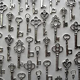 Salome Idea Skeleton Key Charm Set in Antique Silver (48 Charms) 6 Different Styles (Silver Color)