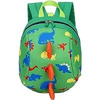 Anti-lost Child Toddler Kids Backpack Cute Cartoon Animal Dinosaur Nursery Kindergarten Preschool Daypack with Long Safety Harnness Strap, Snack Toys Books Zoo Rucksack Travel Zipper Shoulder Bag (Green)