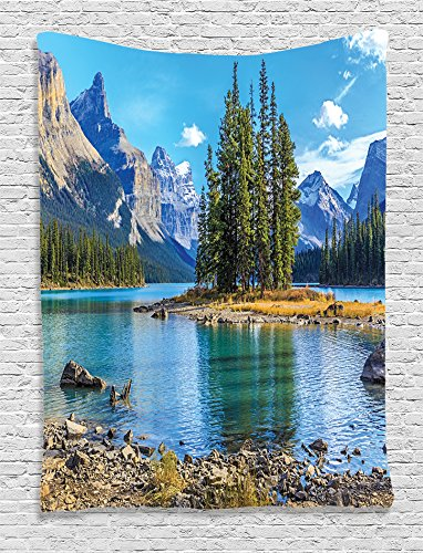 Ambesonne Lakehouse Decor Collection, Scenery of Spirit Island on Maligne Lake Canada in a Summer Time Covered with Mountains Image, Bedroom Living Room Dorm Wall Hanging Tapestry, Blue (Party City In Coral Springs)