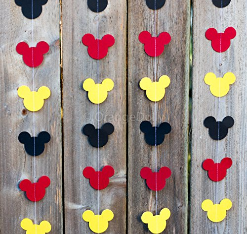 Mickey Mouse Garland | Paper Garland |Party Supplies | Club House Inspiration | Mickey Head Garland | Tricolor Mickey Head Garland Mickey Paper Garland (Mickey Garland Vertical Sewing) for $<!--$9.99-->