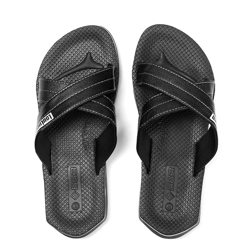 JLCP Pantoufles pour Hommes, Adultes Sandales Maison Douche Piscine Voyage hôtel Chaussures résistant à l\'usure antidérapant Sports de Plein air Chaussures de Plage de Loisirs,Black,42