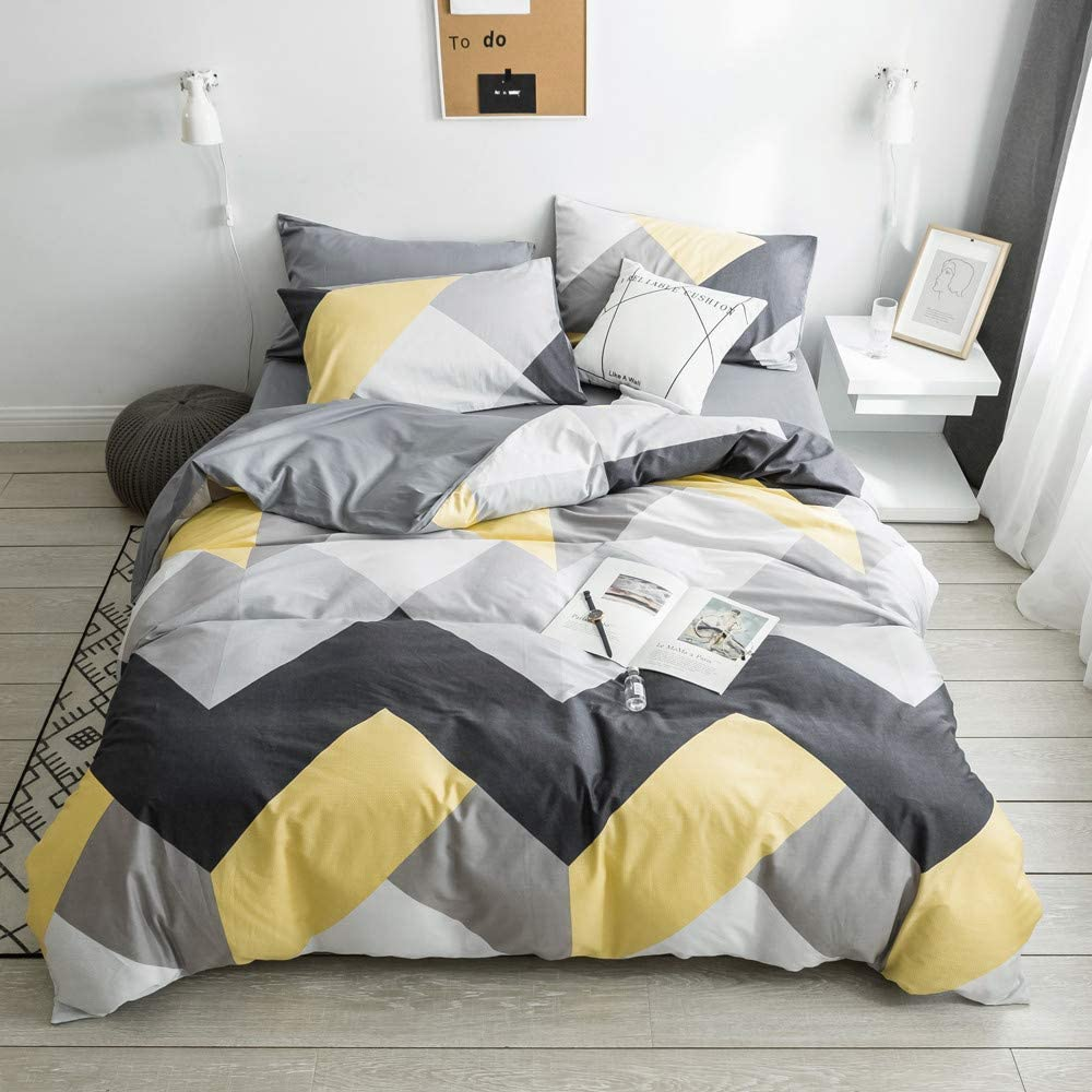 VClife Cotton Bedding Sets Gray Yellow Black Geometric Print Design (1 Duvet Cover + 2 Pillowcases) - Zipper Closure, 4 Corner Ties, Twin