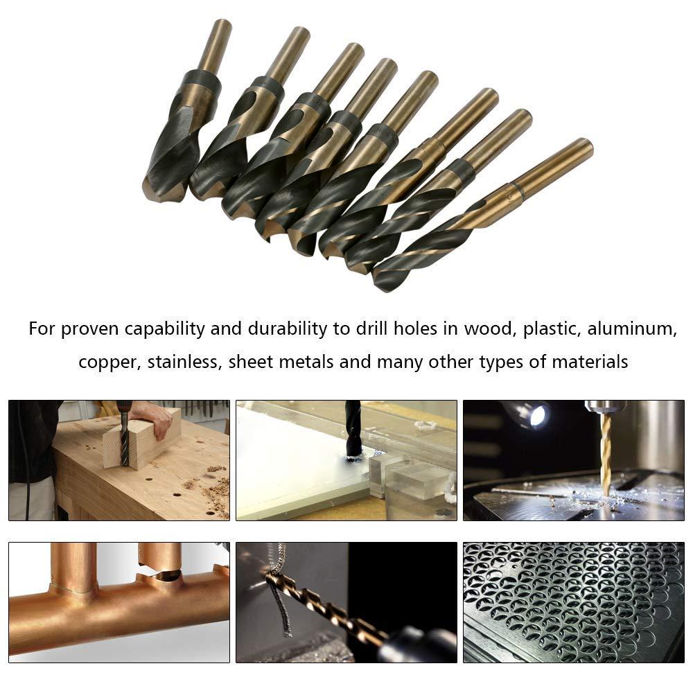 WXQ-XQ High Speed Steel Shank Twist Drill 8-Piece Inch Twist Drill Small Handle bit with Aluminum Box Drill bit 135 Degree Split Point Desig