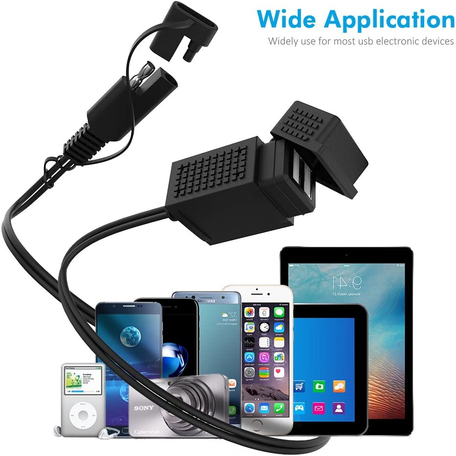 MICTUNING SAE to USB Cable Adapter 3.1A Dual Port Power Socket for Motorcycle for Smart Phone Tablet GPS