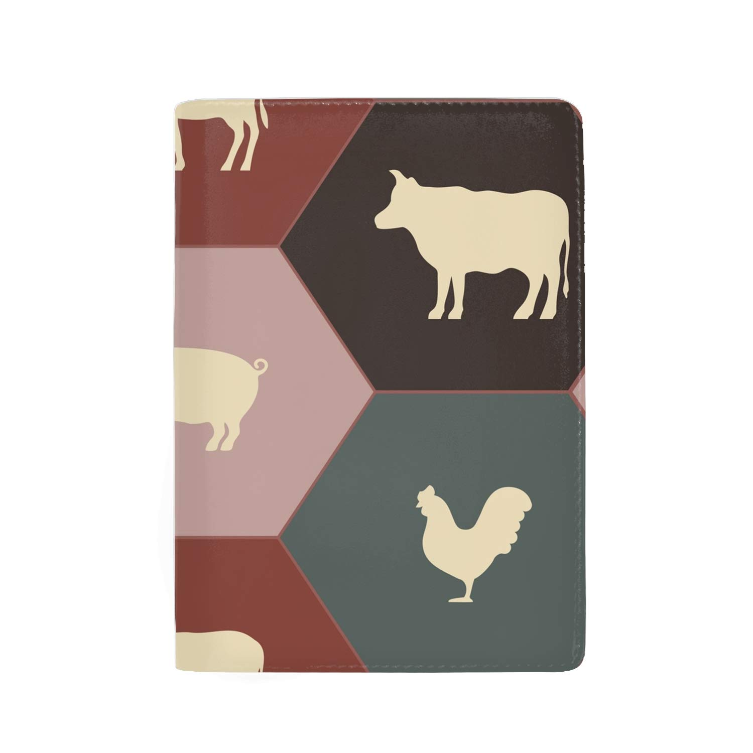 Retro Rooster Fashion Leather Passport Holder Cover Case Travel Wallet 6.5 In