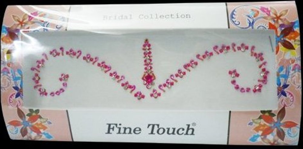 1 Large Pack Bollywood Head Bindi Tattoo Indian Art Rhinestone Stickon Reuseable (Pink-1)