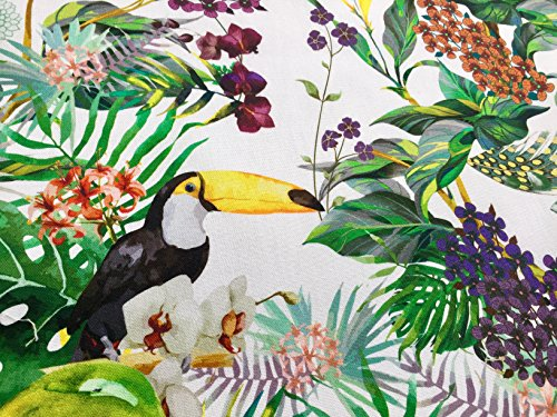 Tropical Toucan Bird & Palm Garden Fabric Curtain Upholstery Cotton Material Digital Print - 110 inches Extra Wide (Sold by The Yard) (Polka Upholstery Dot)