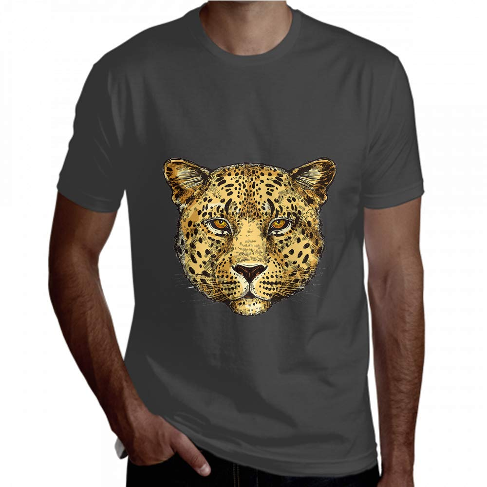 Zaqiwa Men Short Sleeve Brave Spotted Leopard Portrait Short Sleeve Boy Short Sleeve
