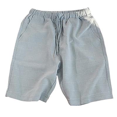 a076d0e62b ainr Men's Casual Cargo Shorts Elastic Waist Plaid Shorts